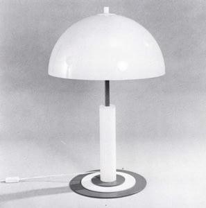 Grijs/witte afbeelding van een Temdo 5683 tafellamp met mooie witte bolkap.