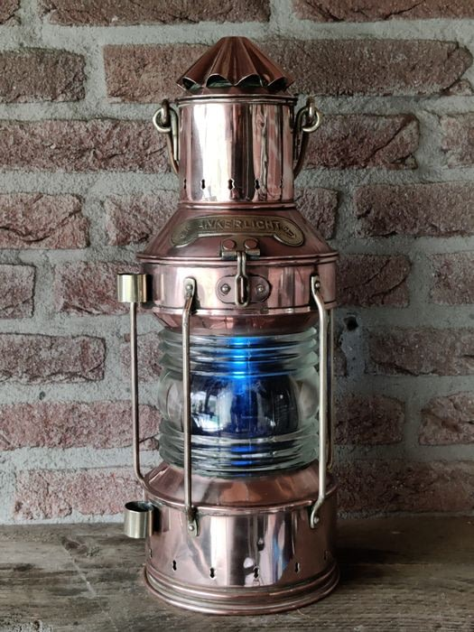 Scheepslamp met blauw inzetstuk