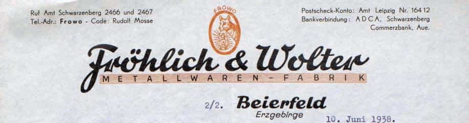 Logo van Frowo, Fröhlich en Wolter, stormlampen