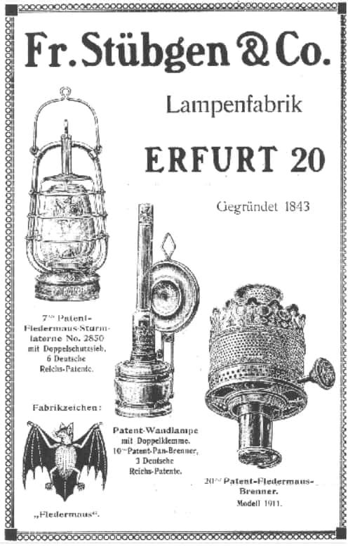 Advertentie Bat stormlampen, Stübgen & Co.