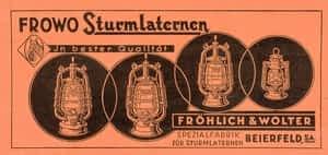 Historische advertentie van Frowo stormlampen